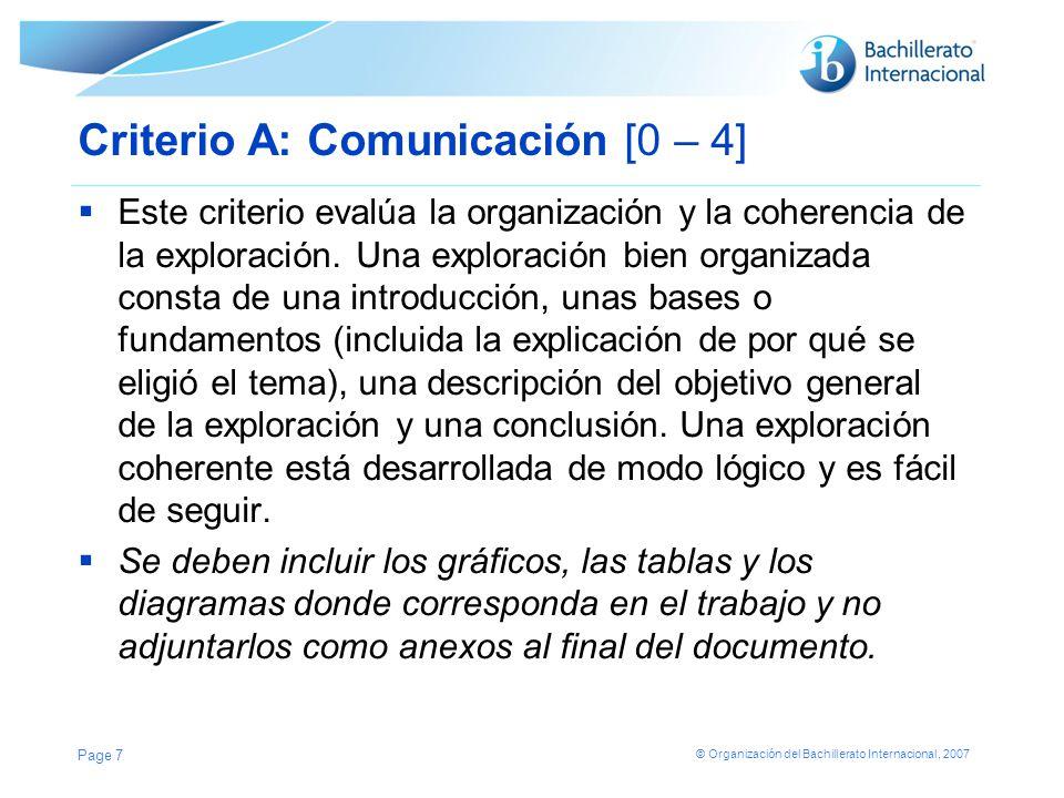 Criterio A: Comunicación [0 – 4]